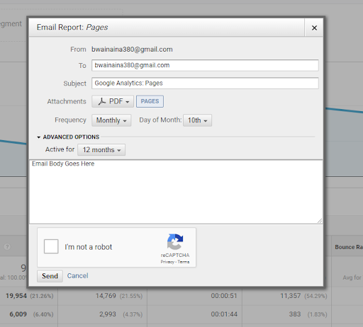 Google Analytics gives you the ability to use advanced report options - Google Analytics email reports