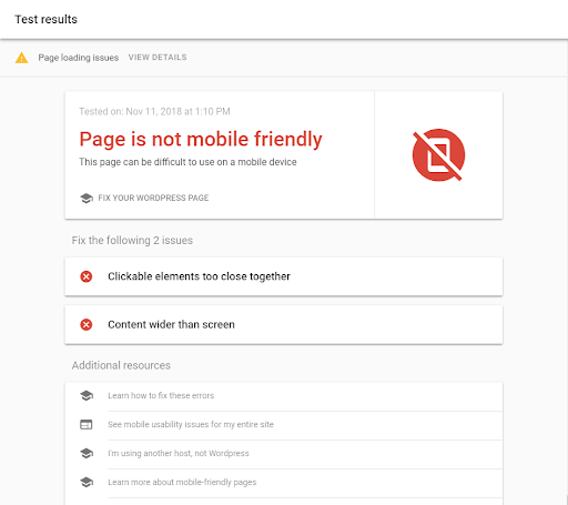 The Mobile Friendly Test lets you know whether or not your site content is mobile friendly - Google Analytics Features